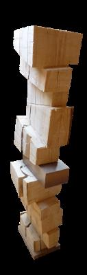 sculpture bois sapin brut petit coffret noyer