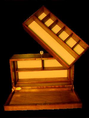 boîte à bijoux en plaquage, intérieur tissus