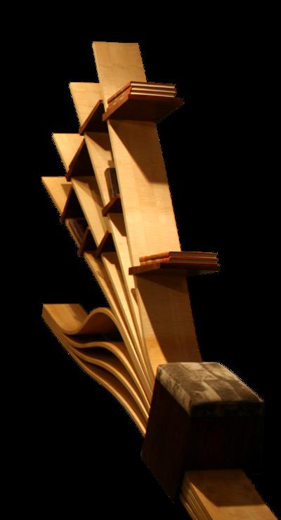 bibliothèque souple bois moulé érable ondée intercalaire amovible noyer