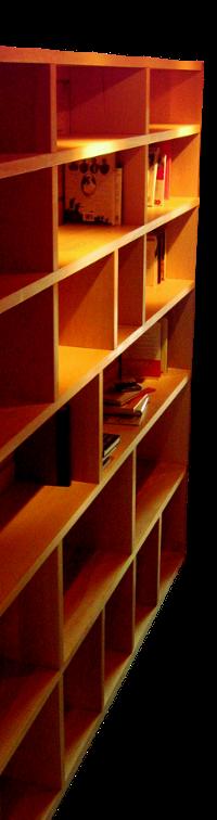 bibliothèque en hêtre massif avec séparations amovibles