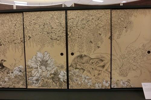 村林由貴さん牡丹とキツネ雉の襖絵