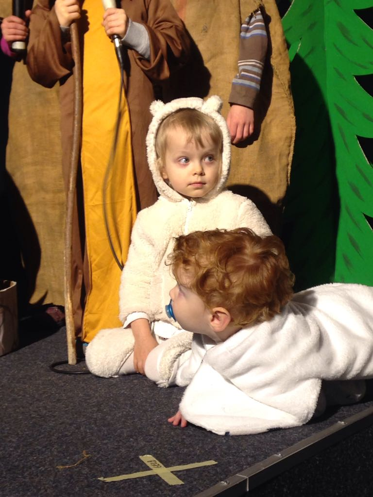 Johanna's very first role in a nativity play: A sheep.