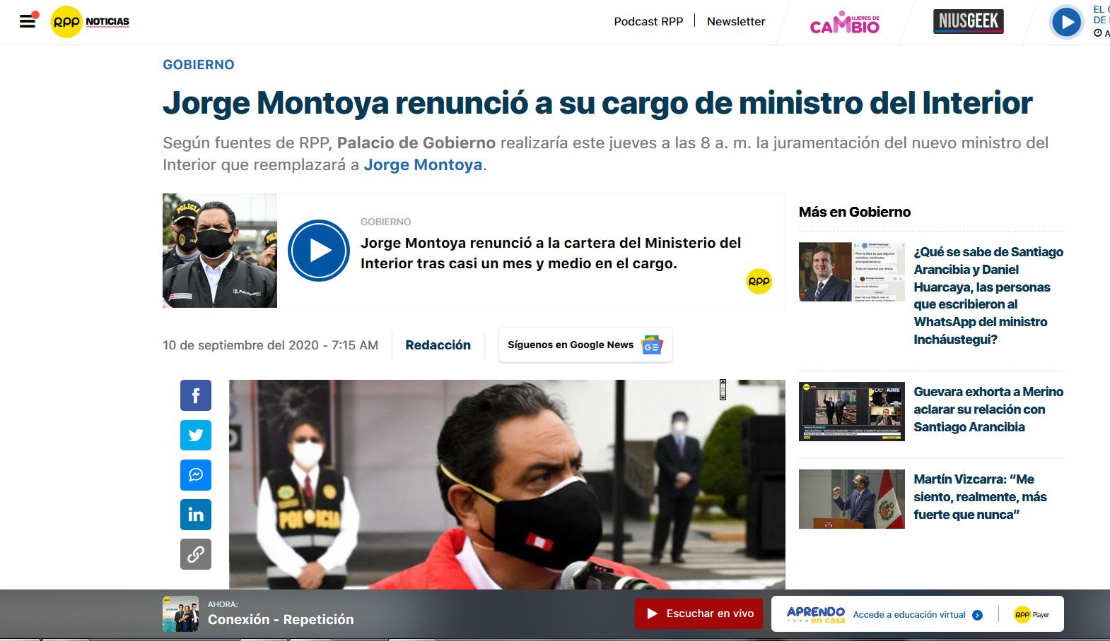 Ein schnellebiges Geschäft: 3 Wochen Später tritt der Minister wegen eines politischen Skandales zurück.  Im Zuge einer Ermittlung von 13 Todesfällen im Rahmen eines Polizeieinsatzes in einer Diskothek in Lima kam es zu Unregelmäßigkeiten.