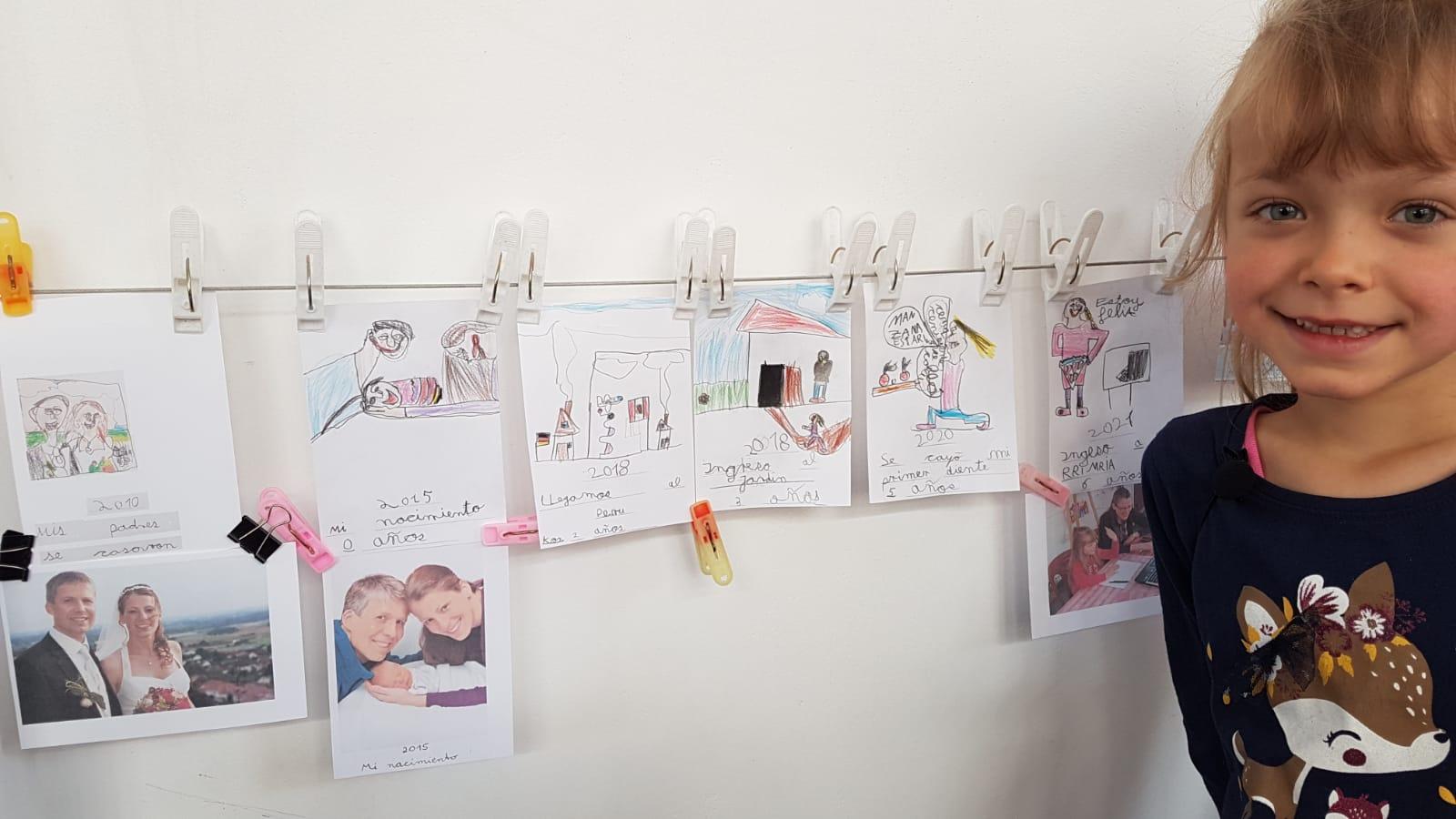 """Hier sollte Johanna eine """"Zeitleiste"""" mit wichtigen Ereignissen erstellen. Sie hat sich für unsere Hochzeit, ihre Geburt, unseren Umzug nach Peru, ihren Start im Kindergarten, ihre erste Zahnlücke und ihre Einschulung entschieden."""