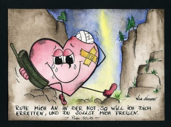 Herzklopfen- Lisa Nathan - Psalm50,15 Rufe mich an in der Not, so will ich Dich erretten und Du sollst mich preisen.
