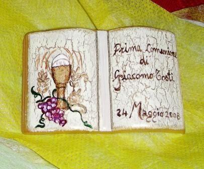 """Bomboniera_""""Prima Comunione"""" (dipinta a mano su fondo craquèle)"""