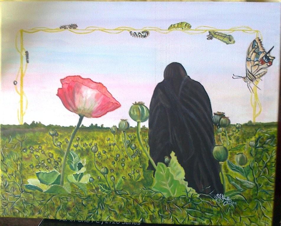 La via dell'oppio: donna afgana in campo di papaveri da oppio... la speranza nel cambiamento.