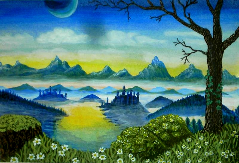 Frühlingsnebel im Tal der Burgen, 40x50, Acryl auf Acrylpapier