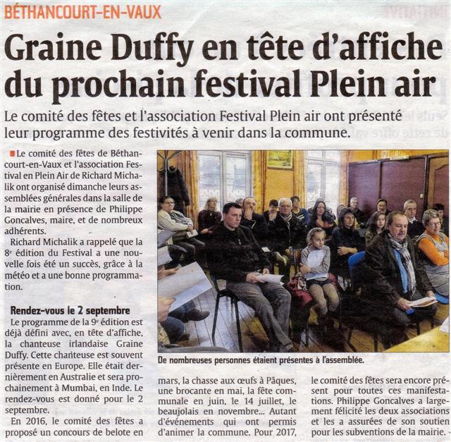 Article de presse : L'Aisne Nouvelle. GRAINNE DUFFY est annoncée lors de l'assemblée générale mais pour divers raison, elle a était remplacé par une autre tête d'affiche : LAURA COX BAND.
