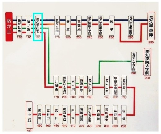 日本キリスト改革派長久手教会 地下鉄東山線藤が丘駅からの名鉄バス路線図