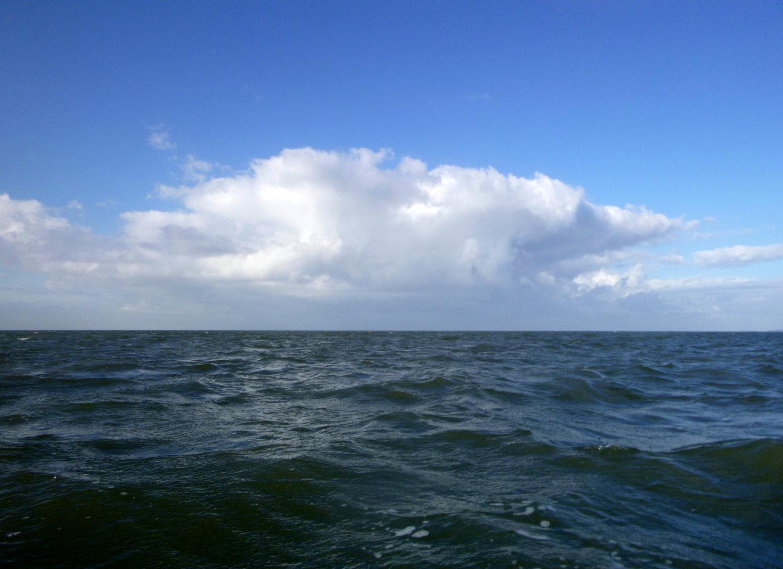 Regenschauer über der Nordsee