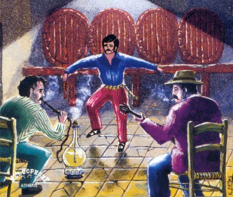 Griechischer Tänzer in Taverne