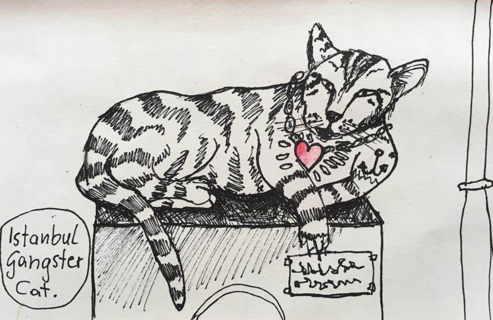 Istanbul Gangster Cat, Tusche auf Papier, 2019