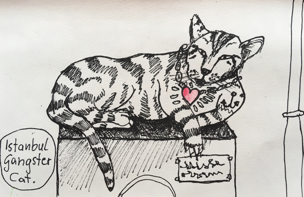 Istanbul Gangster Cat, Tusche auf Papier