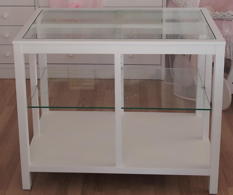 Mesa expositora fabricada lacada blanca