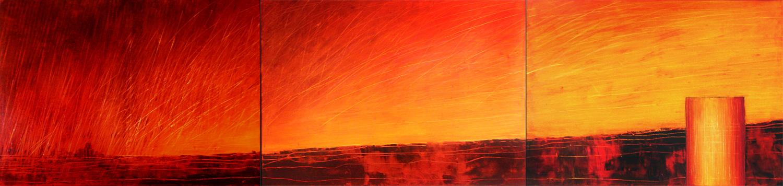 Rotes Meer, 200 x 50 cm, Triptychon, Acryl/Mischtechnik
