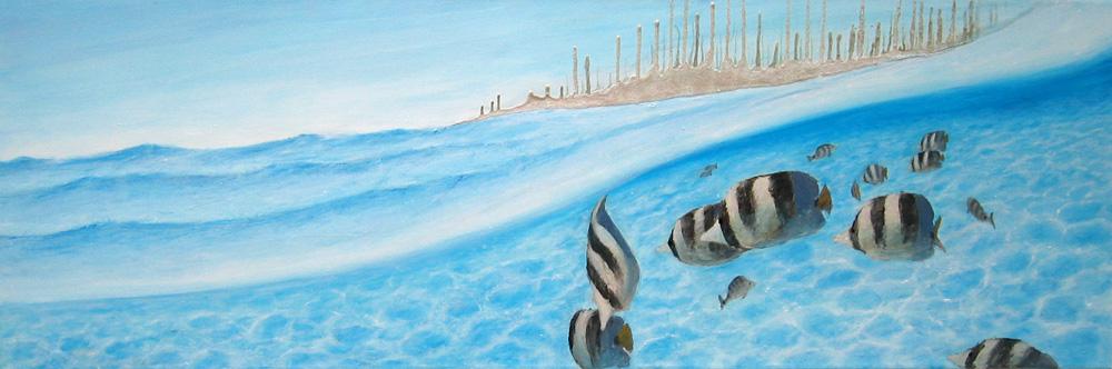 Unter Wasser, 140 x 40 cm, Acryl/ Mischtechnik