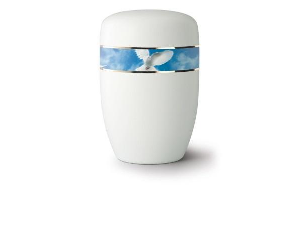 Weiß satinierte Stahlurne mit umlaufendem Zierband und Motiv: Friedenstaube
