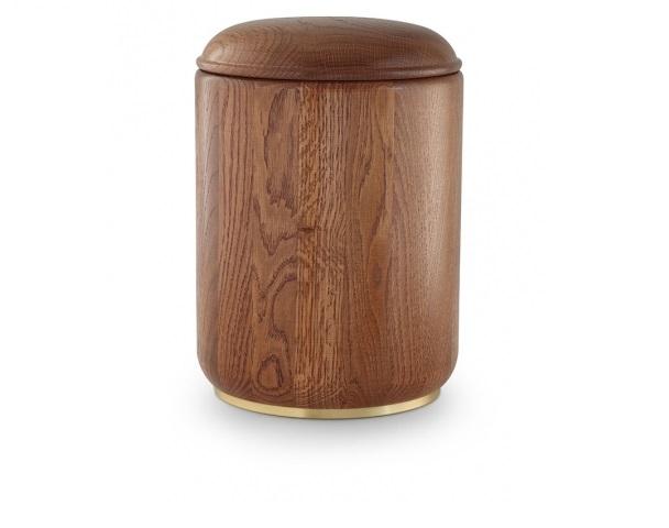 Urne aus Eichenholz mit Messingsockel, Rustikal