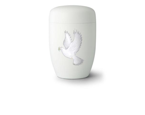 Stahlurne Weiß satiniert mit Motiv: Weiße Taube