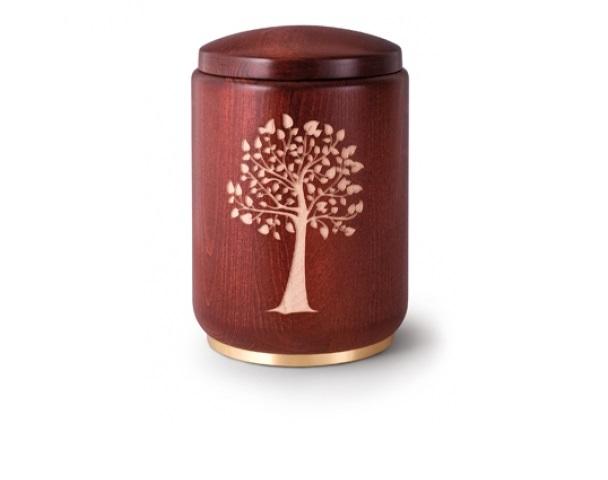 Mahagonifarbige Urne mit Motiv: Lebensbaum