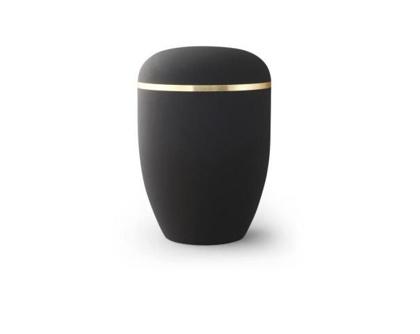 Schwarze Urne mit Goldrand