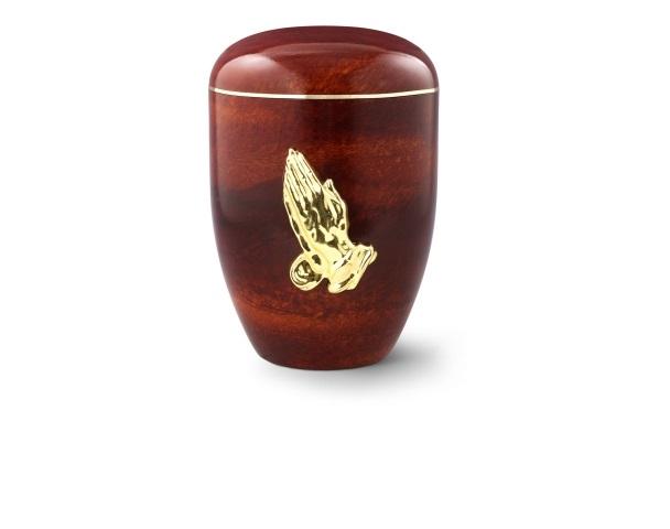 Urne mit Rosenholz-Oberfläche und Messingemblem: Betende Hände