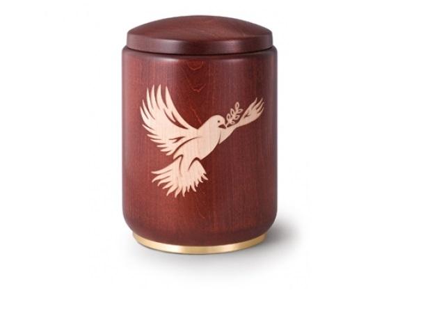 Mahagonifarbige Urne mit Motiv: Taube
