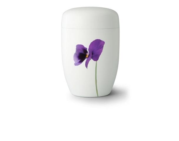 Stahlurne Weiß satiniert mit Motiv: Spring Time