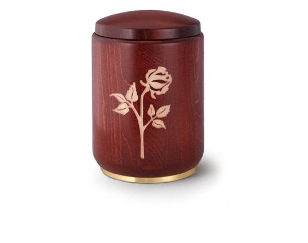 Mahagonifarbige Urne mit Motiv: Rose