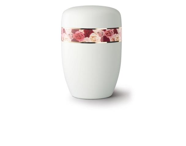 Weiß satinierte Stahlurne mit umlaufendem Zierband und Motiv: Rosen