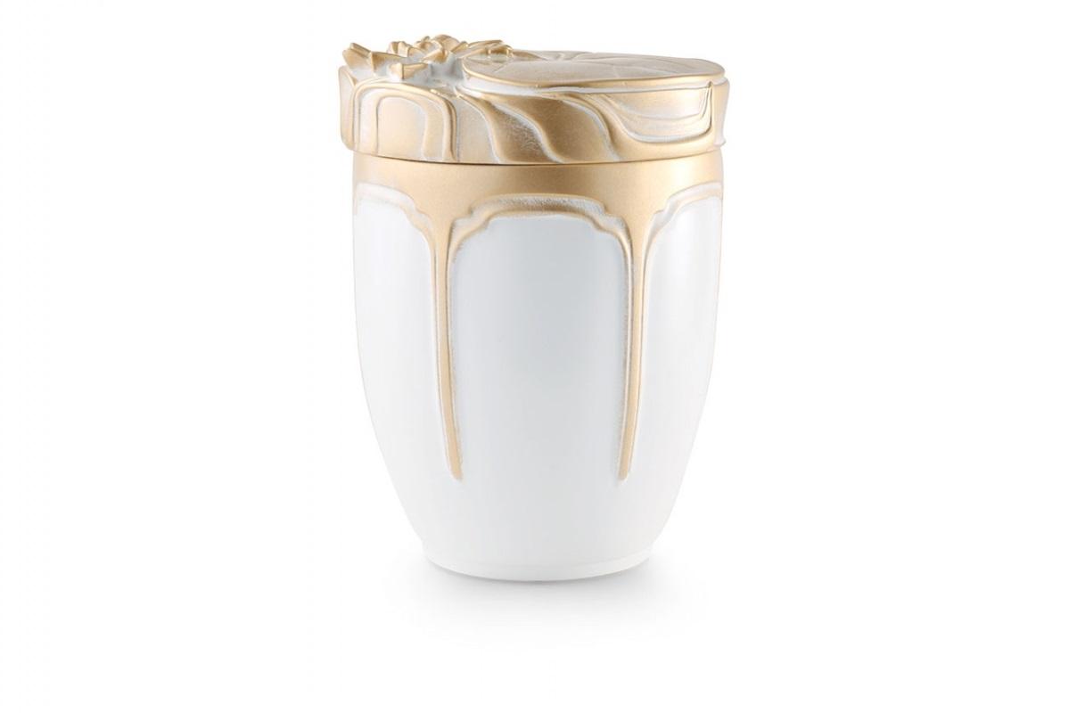 Seeurne Weiß-Gold mit Motiv: Seerosen