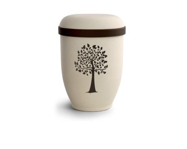 Crémefarbende Urne im Samtton mit Motiv: Baum