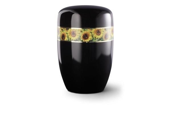 Stahlurne Schwarzer Klavierlack mit umlaufendem Zierband und Motiv: Sonnenblumen