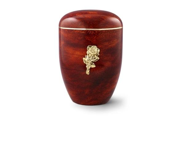 Urne mit Rosenholz-Oberfläche und Messingemblem: Rose