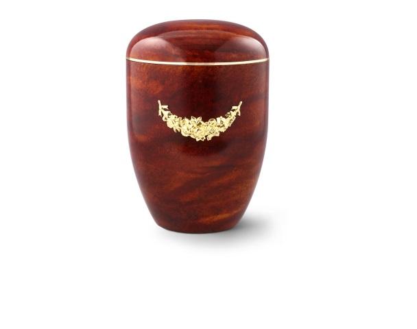 Urne mit Rosenholz-Oberfläche und Messingemblem: Girlande