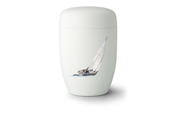Stahlurne Weiß satiniert mit Motiv: Sail Away