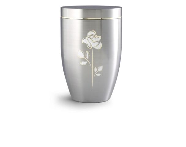 Gebürstete Stahlurne mit Goldlaminat und Motiv: Rose