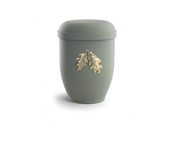 Olivfarbende Urne mit Motiv: Eichenblätter