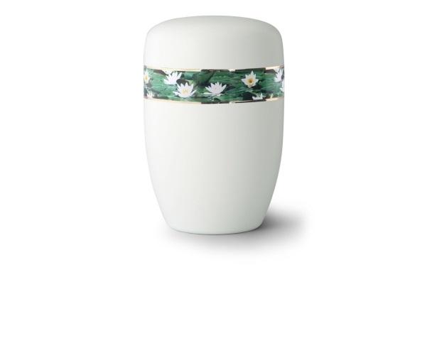 Weiß satinierte Stahlurne mit umlaufendem Zierband und Motiv: Seerosen