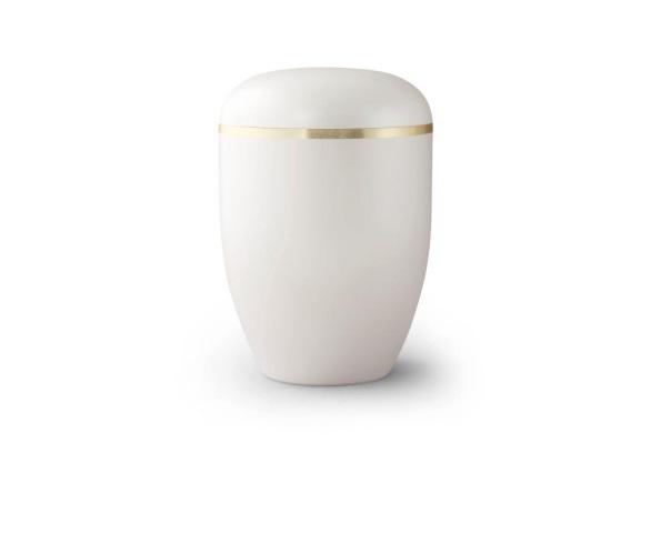 Perlmuttfarbige Urne mit Goldrand