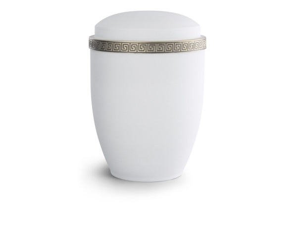Weiße Stahlurne Mäander-Dekor Antikgold