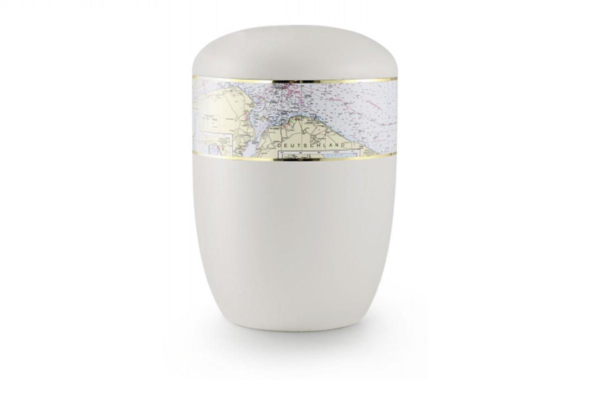 Weiße Seeurne mit Seekarte