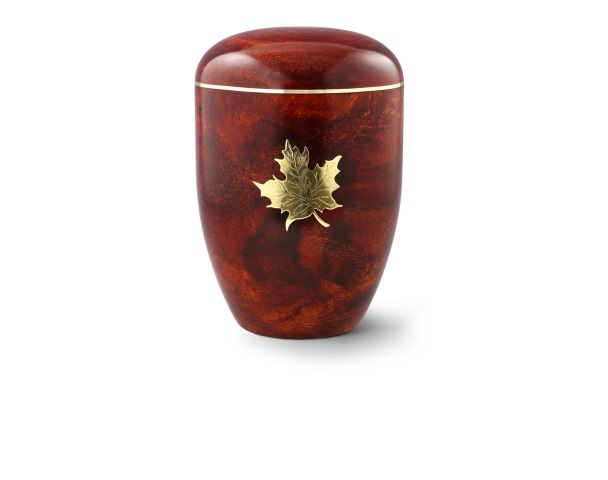 Urne mit Rosenholz-Oberfläche und Messingemblem: Ahornblatt