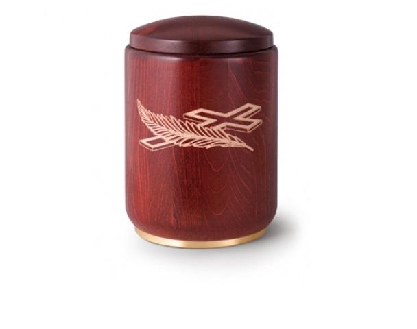 Mahagonifarbige Urne mit Motiv: Palme und Kreuz
