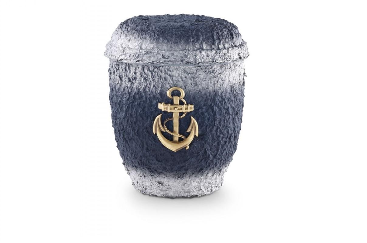Blau-Silber getönte Seeurne aus Zellulose mit Motiv: MS-Anker