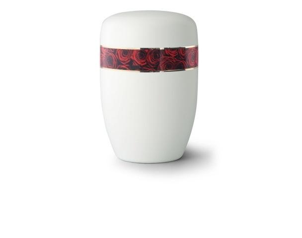 Weiß satinierte Stahlurne mit umlaufendem Zierband und Motiv: Rosenbouquet