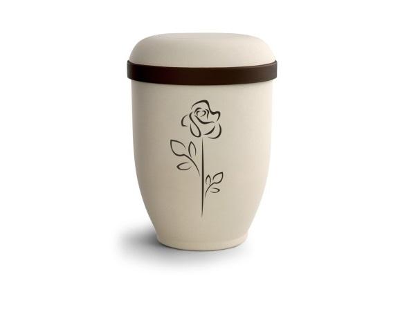 Crémefarbende Urne im Samtton mit Motiv: Rose