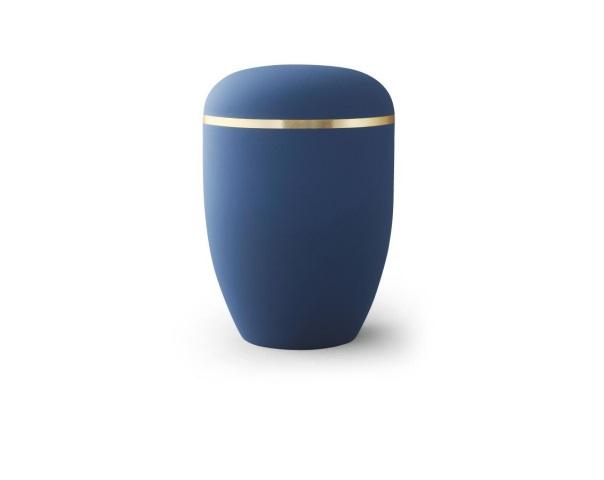 Blaue Urne mit Goldrand
