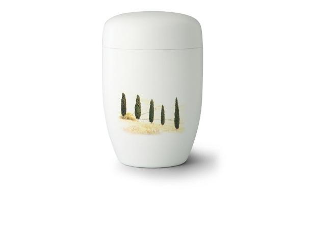 Stahlurne Weiß satiniert mit Motiv: Toscana
